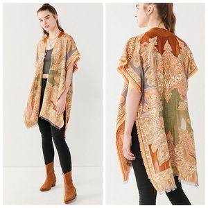 NWT UO Boho Vintage Fringe Paisley Poncho Vest